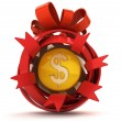 Opened red ribbon gift sphere with golden Dollar coin inside — Stock Photo