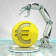 Euro coin investment to robotic hand use in modern industries render  — Stock Photo
