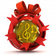 Opened red ribbon gift sphere with golden music inside — Stock Photo