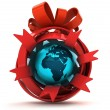 Opened red ribbon gift sphere with Africa earth globe inside  — Stock Photo