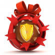 Opened red ribbon gift sphere with shield protector inside — Stock Photo