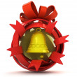 Opened red ribbon gift sphere with golden bell inside — Stock Photo