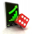 Increasing graph stats with lucky dice on smart phone display — Stock Photo