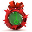 Opened red ribbon gift sphere with green key inside — Stock Photo