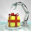 Stock Photo: Cybernetic robotic hand celebration with gift surprise render