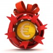 Opened red ribbon gift sphere with golden Euro coin inside — Stock Photo