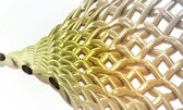 Abstract rotated yellow golden chain three dimensional structure background — Stock Photo