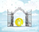 Xmas gate entrance with golden Yen coin in winter snowfall — Stock Photo