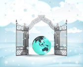 Xmas gate entrance with asia earth globe in winter snowfall — Foto Stock