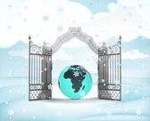 Xmas gate entrance with Africa earth globe in winter snowfall — Foto de Stock