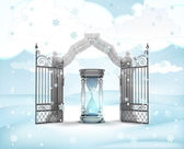 Xmas gate entrance with sand glass countdown in winter snowfall — Stock Photo