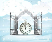 Xmas gate entrance with time counter in winter snowfall — Stock Photo