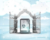 Xmas gate entrance with vault in winter snowfall — Stock Photo