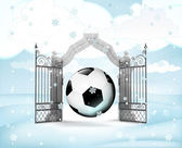 Xmas gate entrance with ball gift in winter snowfall — ストック写真