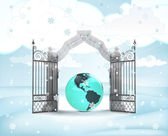 Xmas gate entrance with America earth globe in winter snowfall — Foto Stock