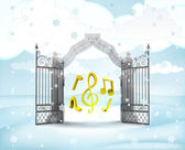 Xmas gate entrance with heavenly music in winter snowfall — 图库照片