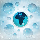 Africa earth globe in bubble at winter snowfall — Stock Photo