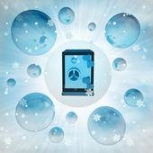Magic closed vault in bubble at winter snowfall — Stock Photo