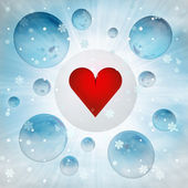 Red love heart sign in bubble at winter snowfall — Stock Photo