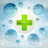 Green health cross in bubble at winter snowfall — Stock Photo