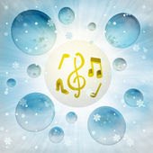 Golden seasonal music in bubble at winter snowfall — 图库照片