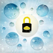 Closed metallic padlock in bubble at winter snowfall — Stock Photo