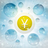 Yuan or Yen currency coin in bubble at winter snowfall — Stock Photo