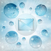 Cold email message in bubble at winter snowfall — Stock Photo