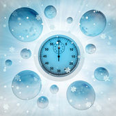 Stopwatch in bubble at winter snowfall — Stock Photo