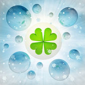 Cloverleaf happiness in bubble at winter snowfall — Stock Photo