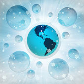 America earth globe in bubble at winter snowfall — Stock Photo