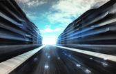 Futuristic city street with binary code road wallpaper — Stock Photo