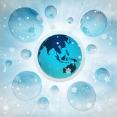 Asia earth globe in bubble at winter snowfall — Stock Photo