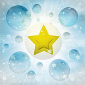 Golden star icon in bubble at winter snowfall — Stock Photo