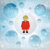 Women figure in bubble at winter snowfall — Stock Photo