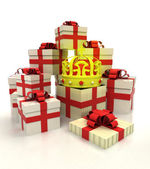 Isolated group of christmas gift boxes with royal crown revelation — Foto Stock