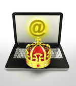 Internet surfing and searching royal information — Stock Photo