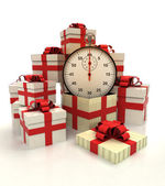 Isolated group of christmas gift boxes with time counter revelation — Stock Photo