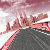 Race track leading to modern skyscraper city with sky in sunset render illustration — Stock Photo