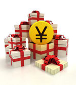 Isolated group of christmas gift boxes with golden Yuan coin revelation — Stock Photo