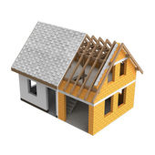 Tinny roofing construction design transition — Stock Photo