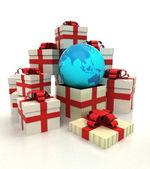 Izolovaná skupina vánoční dárkové krabičky s Asií země světa zjevení — Stock fotografie