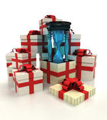 Isolated group of christmas gift boxes with sand glass revelation — Stock Photo