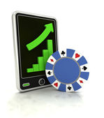 Increasing graph of bet game industry on smart phone display — Stock Photo