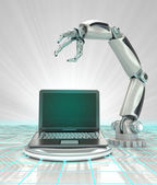 Cybernetic robotic hand creation of modern personal computer render — Stock Photo