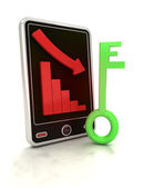 Descending negative graph with green key on smart phone display — Stock Photo