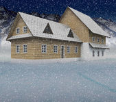 Seasonal mountain cottage at night snowfall — Stock Photo