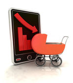 Descending graph negative stats with baby carriage on smart phone display — Stock Photo