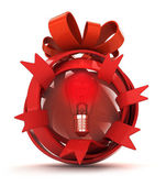 Opened red ribbon gift sphere with red shiny bulb inside — Stock Photo