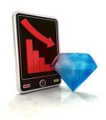 Descending negative graph stats of diamond value on smart phone display — Stock Photo